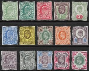 1902 Edward VII DLR Ordinary Paper Stamp Set Of 15 Mounted Mint SG215-257